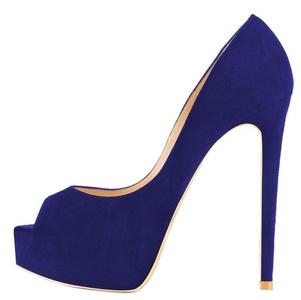 Maovii Women's Elegant Big Size Peep Toe High Heels Concealed Platform Court Shoes 14 M US Navy