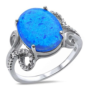 Accent Fancy Swirl Wedding Ring Oval Cut Lab Created Blue Opal Round Clear CZ 925 Sterling Silver