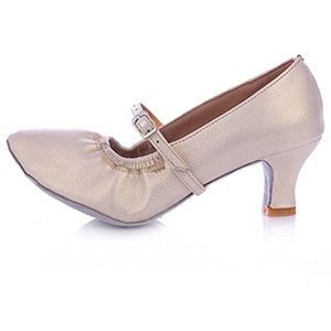 Lady modern dance shoes/ women's ballroom dancing shoes/Leather soft bottom dancing shoes-E Foot length=23.8CM(9.4Inch)