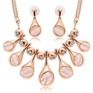 Crystal Opal Jewelry Set Wedding Accessories Wedding jewelry Earrings + necklace