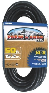 Prime Wire & Cable EC532730 50-Foot 14/3 SJTOW Farm and Shop Extension Cord, Black by Prime Wire & Cable