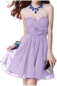 Winnie Bride Ruched Chiffon Bridesmaid Dress Short Prom Homecoming Party Dress-10-Lilac