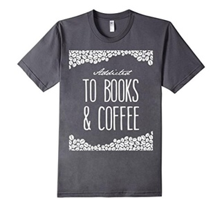 Men's Addicted to Books & Addicted to Coffee T-Shirt Small Asphalt