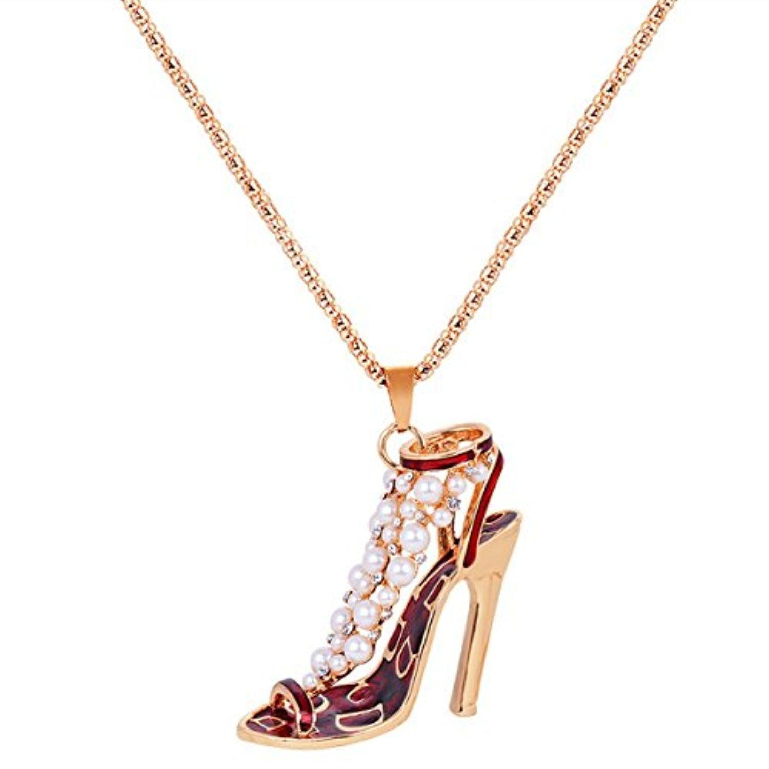 ARICO High Heels Pendant Necklace Crystal Necklace Pearl Necklace Enamel Jewelry Keychain NE815
