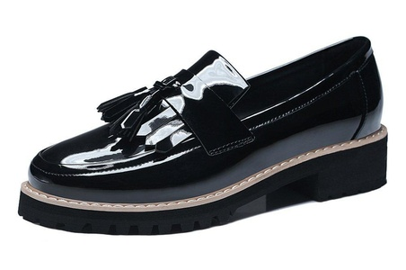 Youxuan Women's Classic Walk Shoes Patent Leather Tassels Loafers Flats Black 7M US