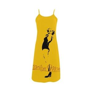 Abbie Miller Marilyn Monroe Custom Women's Polyester Casual Slip Dress Yellow