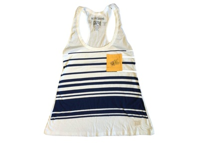 Montgomery Biscuits Retro Brand WOMENS White Navy Striped Racerback Tank Top (M)