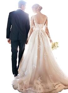 Tsbridal Long Sleeves Lace Wedding Dress V-neck Lace-up Ball Gown Wedding DressesIvory-US16