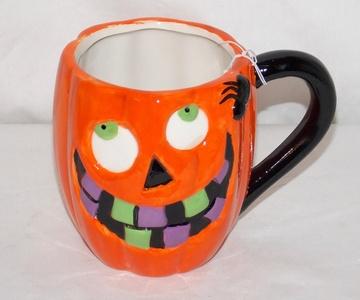 New 16oz Halloween Orange Jack-O-Lantern Pumpkin Silly Face Coffee Mug Cup