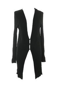 Studio M Black Rib-Knit Tunic Cardigan M