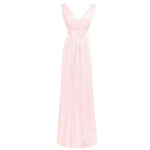 Bess Bridal Women's V Neck Sequined Long Formal Prom Gowns Evening Dresses US20W Blushing Pink