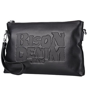 BISON DENIM Mens Genuine Leather Clutch Large Capacity Handbag with Zipper