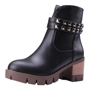 Show Shine Women's Platform High Chunky Heel Ankle High Martin Boots (7.5, brown)