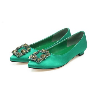 QINGYUAN Women's Satin Crystal Flats Pointeds Loafers US 5 Green