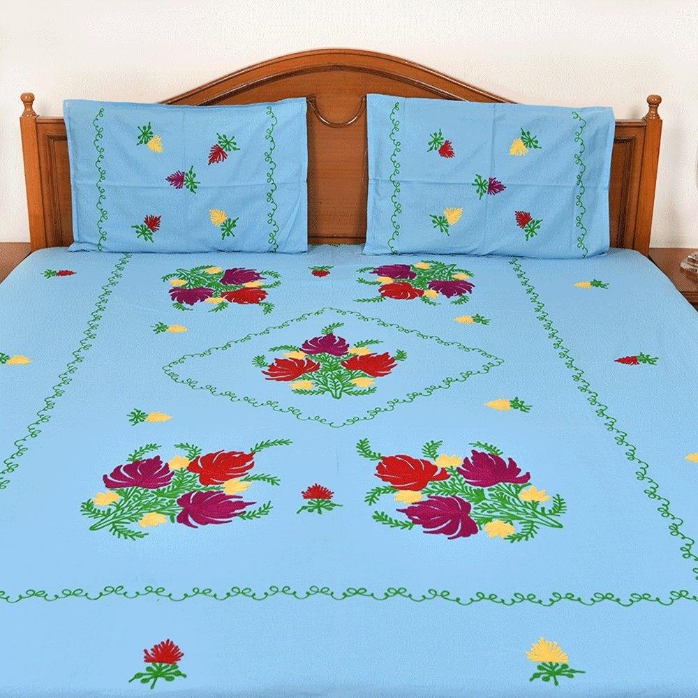 Handmade bed sheets design - Handmade Cotton Light Blue Double Bed Sheet Spread Linen With 2 Pillow Cover Floral Design Exclusive