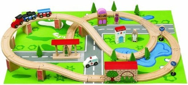 Wooden Toys Train Set (50 Pieces) by Wooden Toys