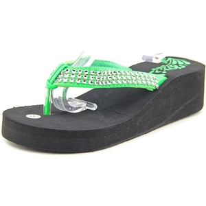 Non-Branded 1786 Women Open Toe Synthetic Green Wedge Sandal