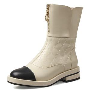 Nine Seven Genuine Leather Women's Round Toe Chunky Heel Color Contrast Zip Handmade Boot (6.5, black)