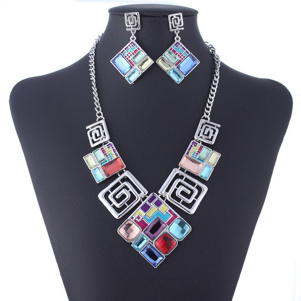 ARICO Geometric Jewelry Set Square Necklace Set Earrings Vintage Jewelry Sets NB146