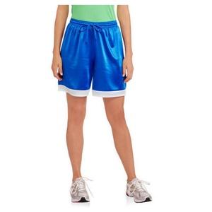 Danskin Now Women's Colorblock Long Basketball Dazzle Shorts (X-Large, Blue Fire/White)