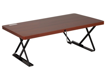 Halter ED-245 Mini Manual Adjustable Desk with Custom Height Control Crank | Table Top Sit / Standing Desk ( Cherry )