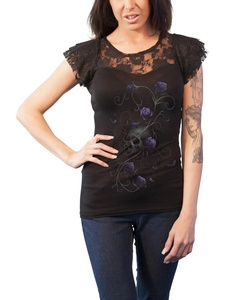 Spiral T Shirt Entwined Skull Lace Layered Cap Sleeve Junior Fit T Shirt Black