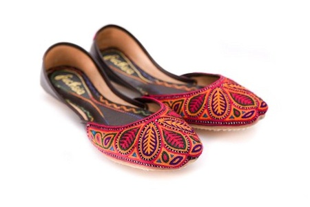Fuchsia Leather Embroidered Ballet Flats