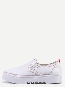 Round Toe Flatform White Slip-on