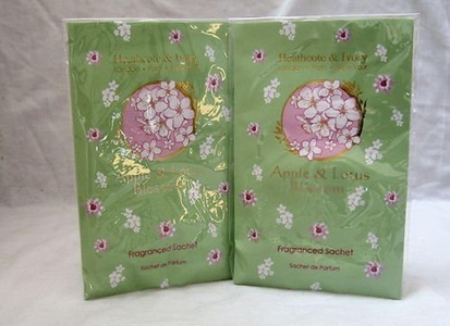 2 x Heathcote and Ivory Apple and Lotus Blossom Sachets by Heathcote & Ivory