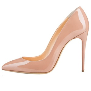MERUMOTE Women's Middle Thin Heel Stiletto Pointed Toe Dress Party Pumps Nude 10.5 US