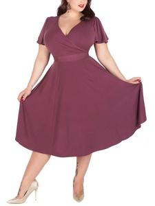 Nemidor Women's V-neckline Stretchy Casual Midi Plus Size Bridesmaid Dress (26W, Light Purple)