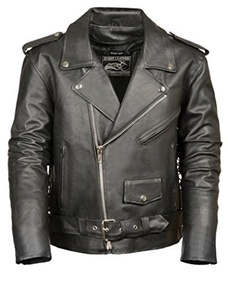 Event Biker Leather Men's Basic Motorcycle Jacket with Pockets (Black, XX-Large) by Event Biker Leather