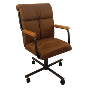Casual Rolling Caster Dining Arm Chair with Swivel Tilt (1 Chair) (Cocoa)