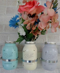 Winter Colors Mason Jar Decor - Mason Jar Gifts - Painted Mason Jars - Mason Jar Wall Decor - Mason Jar Candles, Mason Jar Centerpieces, Mason Jar