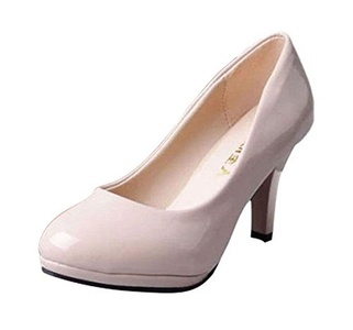 T&Grade Women Comfortable Round Toe Platform High Heel Dress Low Top Pumps(5.5 B(M) US, Beige)