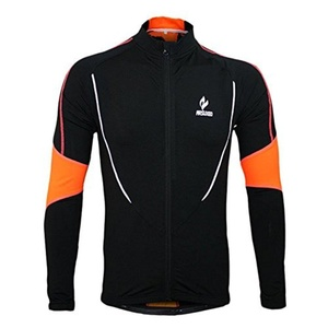 Arsuxeo Winter Warm Long Sleeve Cycling Jersey Running Fitness Fleece Outdoor Sports Clothing Jacket -Black,L by ARSUXEO