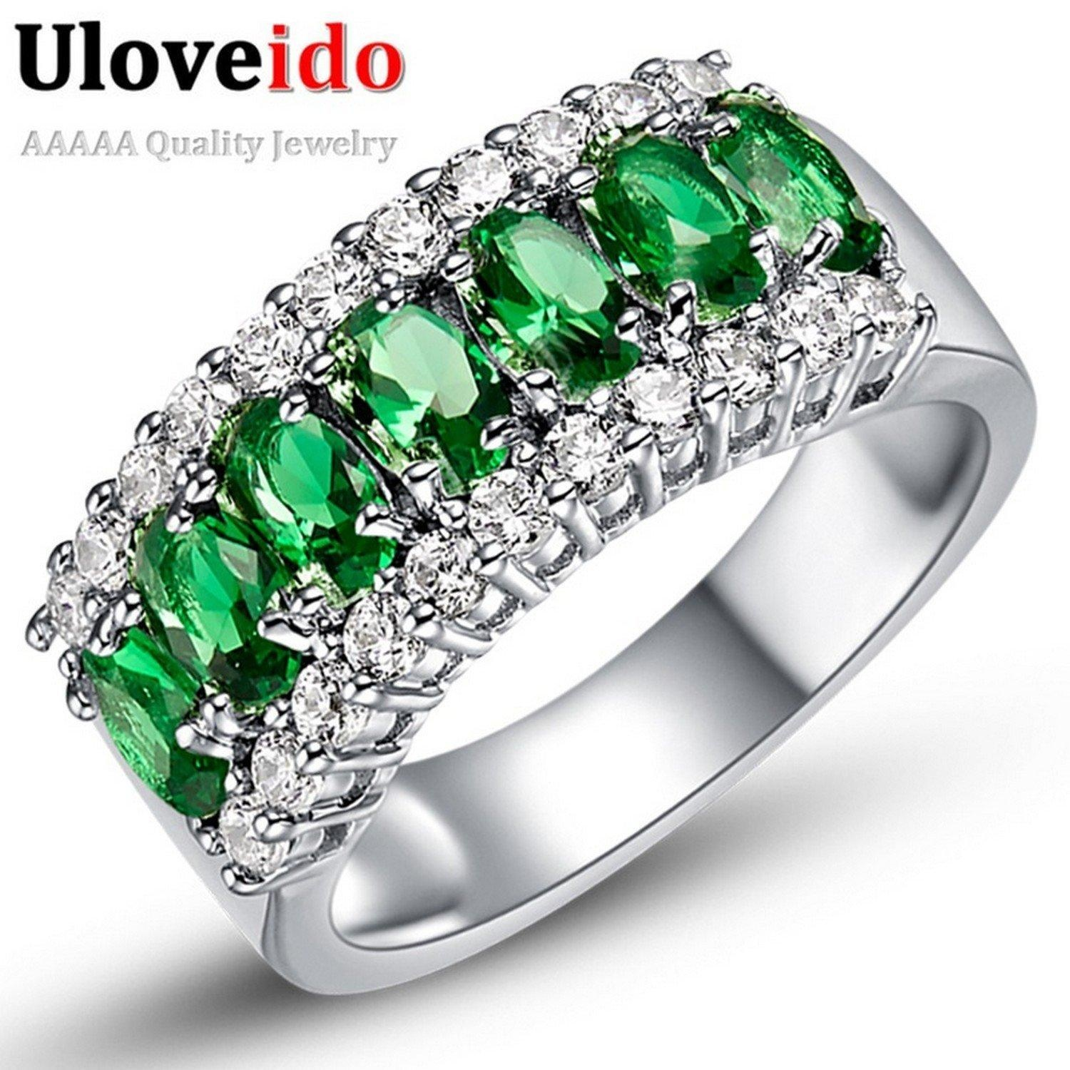 Dudee Jewelry Valentine's Day Womens White Gold Plated Red Wedding Large Colored Ring Red Green Zircon Sets Ringen Jewelry J501