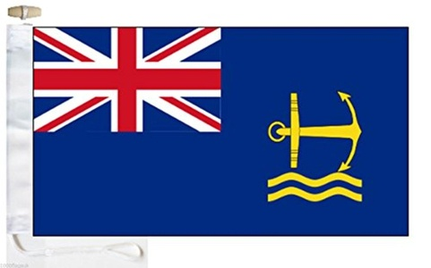 Royal Navy Royal Maritime Auxiliary Service Blue Ensign Courtesy Boat Flag - Roped & Toggle