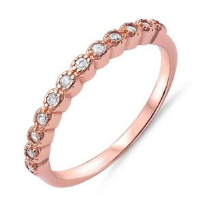 Forever Half Eternity Band Skinny Stacking Rose Gold Tone Sterling Silver Ring Sizes 4-11