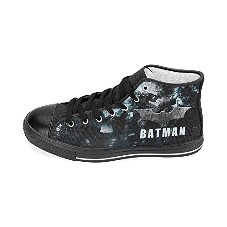 H-MOE Art Batman Men's Canvas Shoes High-top Lace-up Breathable Sneakers,Black