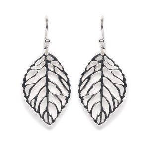 Tomas Sterling Silver Medium Leaf Hook Earrings