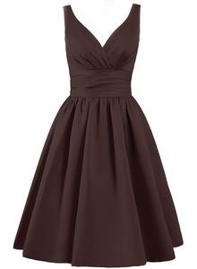 Angel Formal Dresses Women's V Neck Pleated Satin Formal Prom Dress(4,Cholocate)