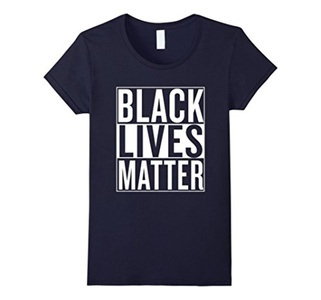 Women's Black Lives Matter Race Unity Say No Racism T-shirt Large Navy