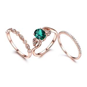3pcs Wedding Ring Set,emerald Engagement Ring,8mm Round,14k Rose gold,Art Deco Diamond Matching Band