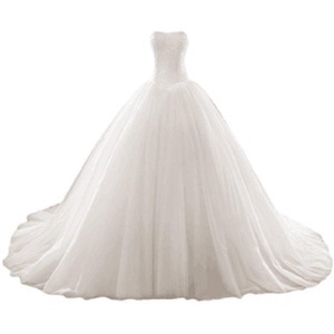 Favors Dress Women's Strapless Ball Gown Cathedral Train Wedding Dresses Ivory Custom