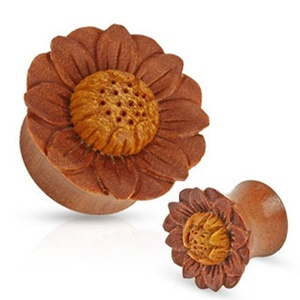 Lotus Flower Hand Carved Organic Sawo Wood WildKlass Saddle Fit Plug (Sold as a Pair)