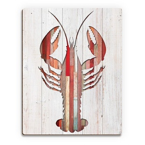 Colorful Wood-Planked Pattern Lobster Cutout on White Woodgrain-pattern 1 of 2 Wall Art Print on Wood