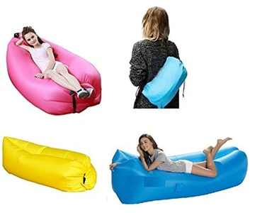 Air-Comfort(TM) The Original Inflatable Hangout Air Sofa Beach Lounge Sleeping Bag - Folds to a Carry-on Bag - Included