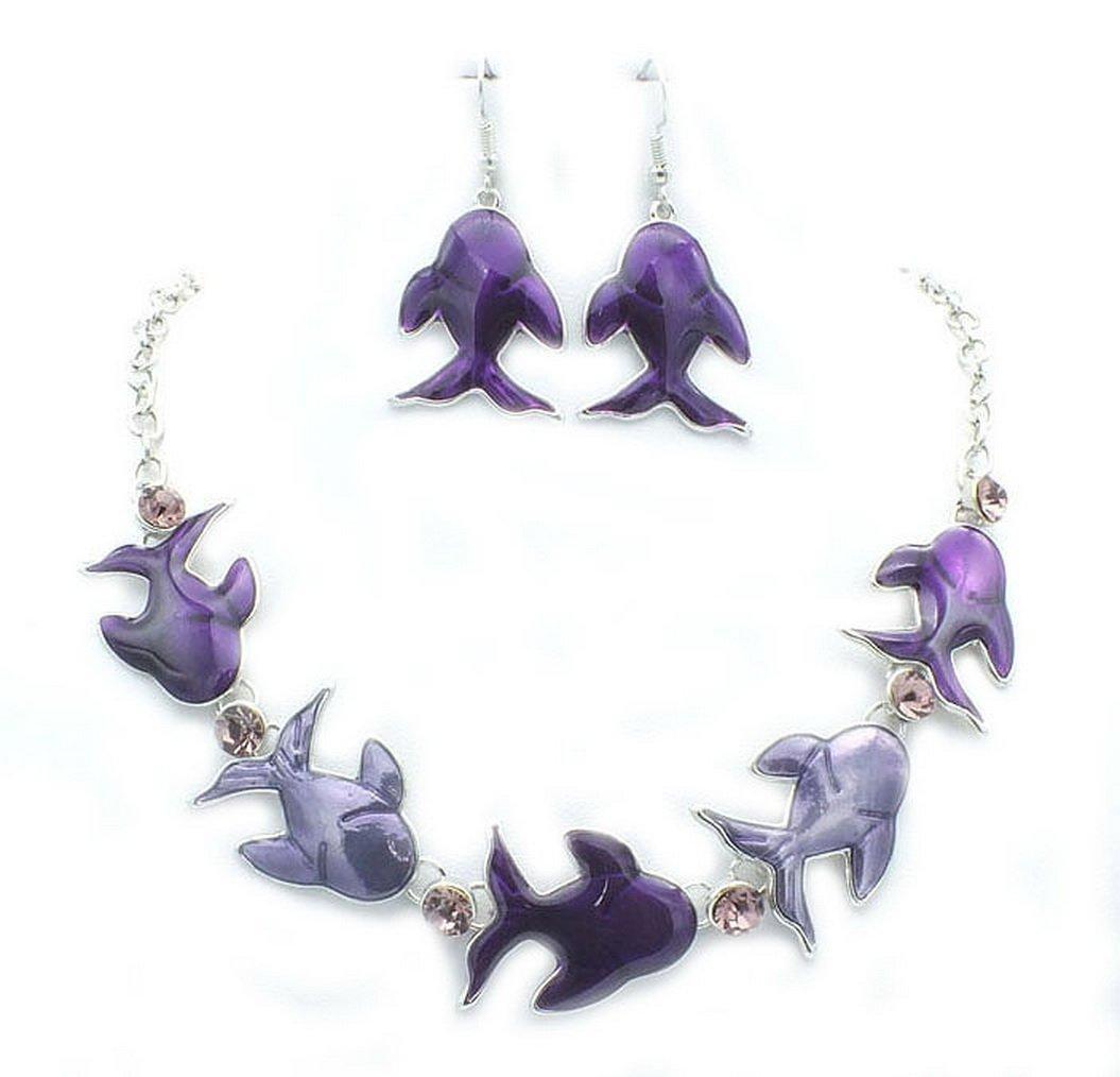 ARICO Crystal Jewelry Set Enamel Unique Fish Necklace Earrings Enamel Jewelry Sets Purple Silver Plated NE215