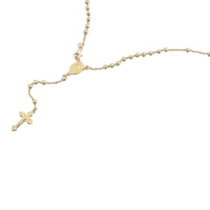 14K Yellow Gold Plated Sterling Silver Rosary Necklace 3mm Bead Cross Italian Rosary Chain ( 16